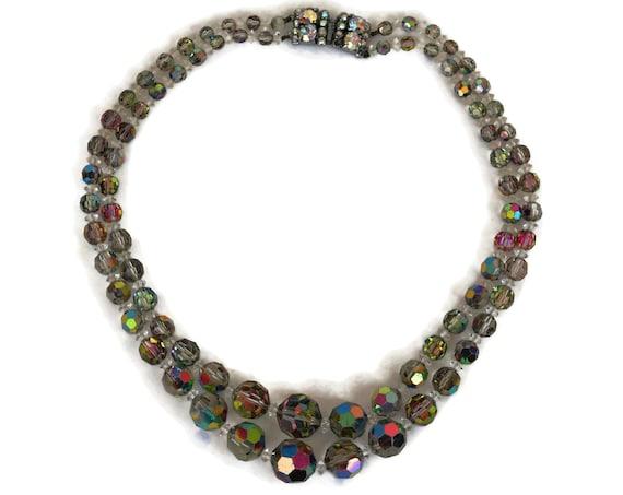 Vintage Aurora Borealis Crystal Beaded Necklace, Double Strand Beads, Retro 1950's Jewelry