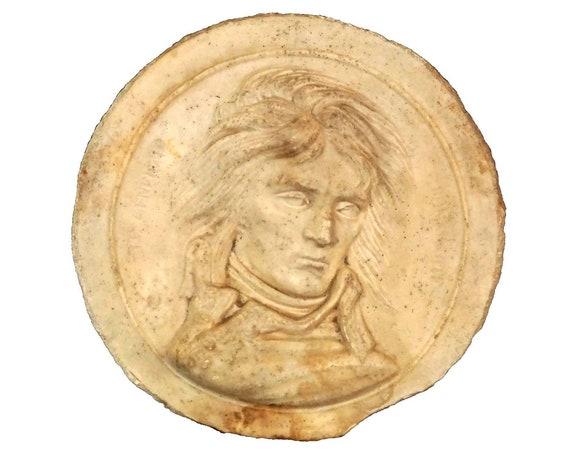 General Napoleon Bonaparte Portrait Plaque by David d'Angers, Antique French Military Decor