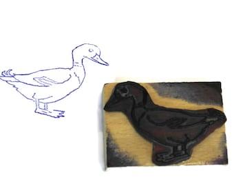 Duck Rubber Stamp Wood Print Block.