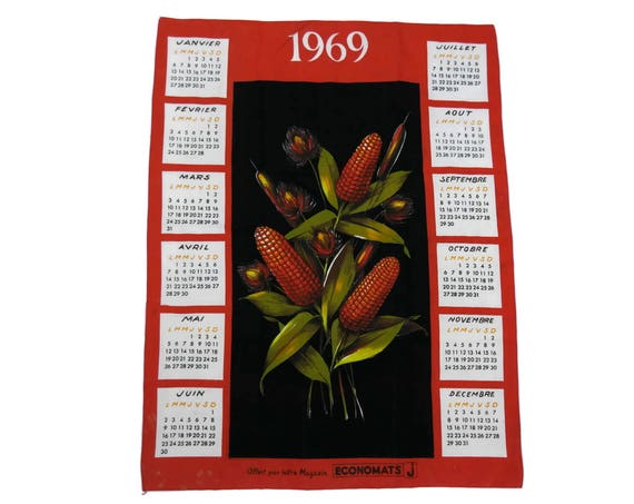 French Vintage Printed Tea Towel 1969 Calendar, Rustic French Country Kitchen Wall Decor, Corn Cob Decor