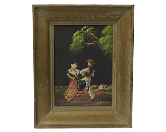 Vintage French Provence Souvenir Painting on Black Silk.