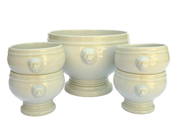 French Onion Soup Tureen Set, Pillivuyt Porcelain Lion Head Bowls