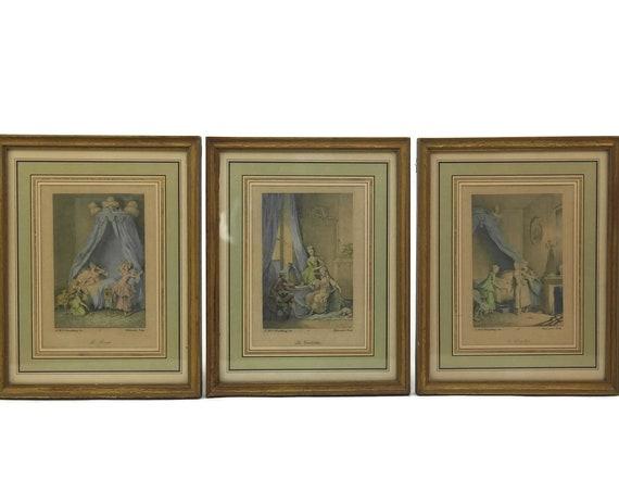 Set of 3 Antique French Boudoir Art Prints