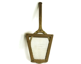 French Vintage Tennis Racquet and Frame. Wooden Racket and Press. Sports Decor and Gifts.
