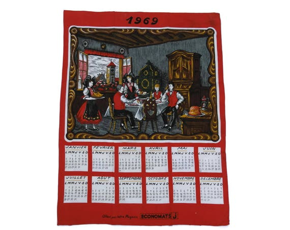 1969 Printed Tea Towel Calendar, Vintage Rustic French Country Kitchen Wall Decor, Alsace Souvenir