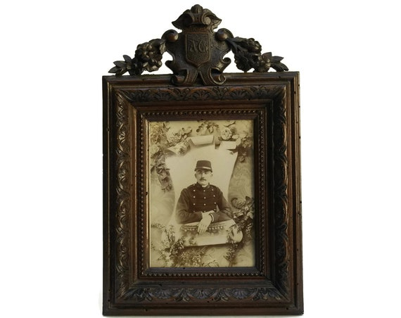 French Antique Carved Wood Photo Frame with Monogram Initials A G. Family Crest Chateau Decor. French Style Home Gifts.