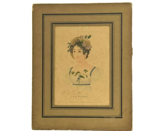 Antique Lady Portrait Engraving. French Art Print La Pensée by Aumont Estampes. 19th Century Etching Wall Art.