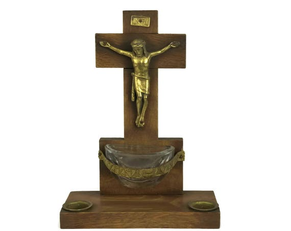 French Art Deco Wooden Crucifix, Inkwell and Holy Water Font. Double Inkwells. Christian Gift.