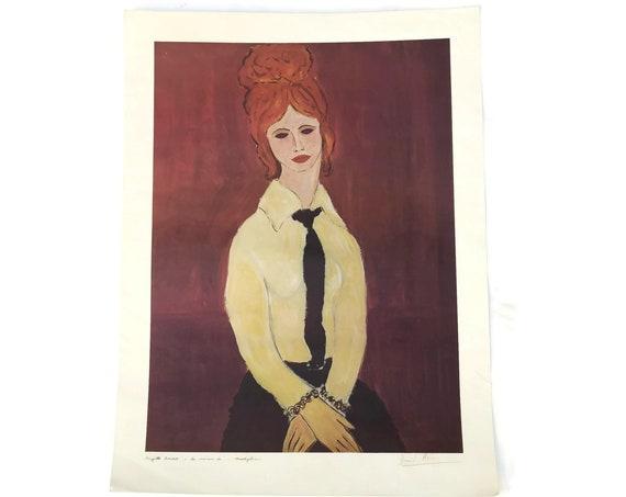 Vintage Brigitte Bardot Portrait Lithograph by David Stein in the Style of Modigliani. Original French Art Print. Cinema Memorabilia.
