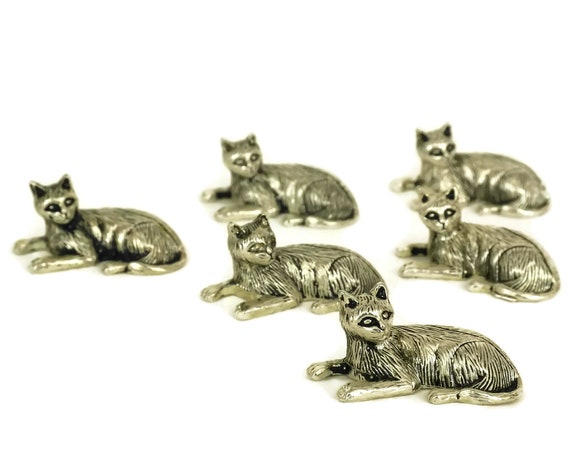 Vintage Cat Figurine Place Setting, Set of 6 Name Card Holders