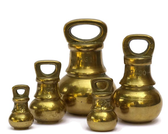 Vintage Brass Bell Weights. Set of 5 Kitchen Scale Weights. French Rustic Kitchen Decor.