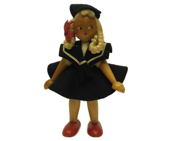 Vintage French Sailor Girl Doll, 1930s Toy, Hand Painted Wooden Figurine