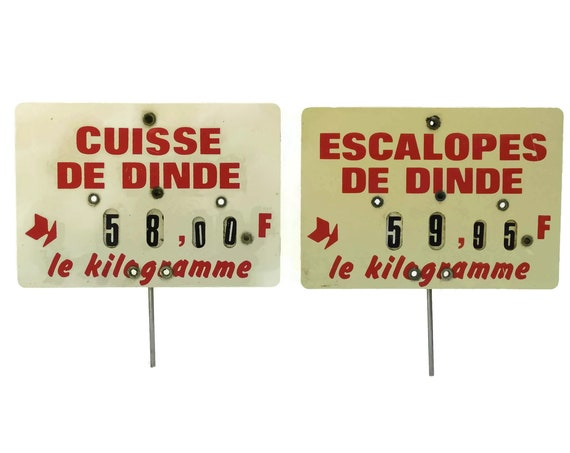 Turkey Meat Butchers Price Ticket Label. French Vintage Store Display Sign. Country Kitchen Decor. Deli Meat Lover & Foodie Gift.