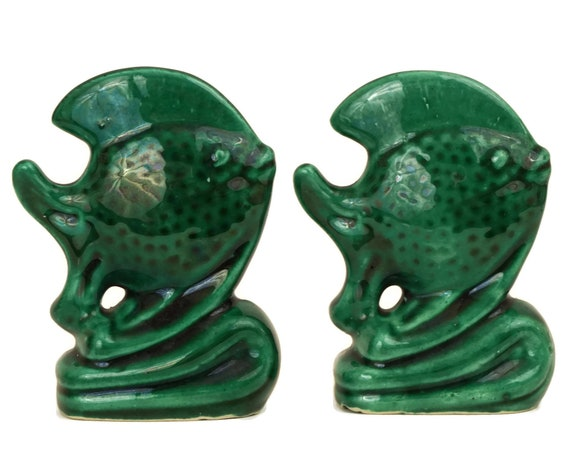 Vintage Green Pottery Fish Figurines, French Art Deco Ceramic, Nautical Home Decor, Pisces Gift