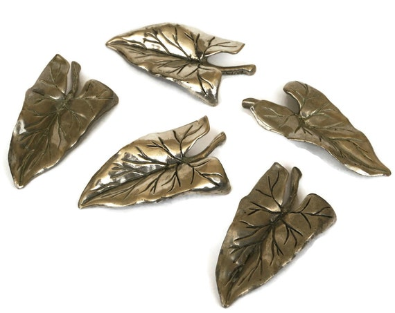 Vintage Pewter Leaf Chopstick Rests, Set of 5