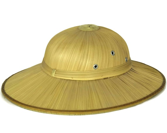 Vintage French Straw Pith Helmet, Safari Hat, Tropical Fashion Sun Hat, Boho and Jungle Decor