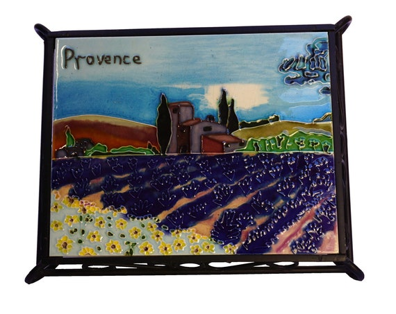 Provence Landscape Tile Trivet, French Country Ceramic and Wrought Iron Pot Rest