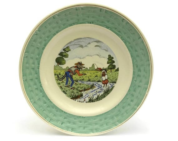 RESERVED for A. The Wolf and the Lamb. Vintage French Faience Plate. Nursery Decor.