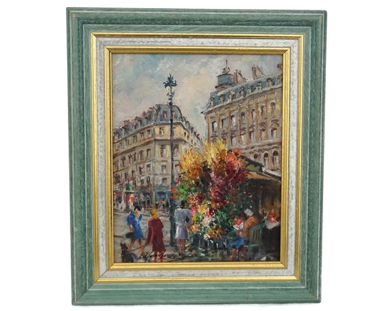 Paris Painting with Street Scene and Flower Market, Original French Souvenir Art