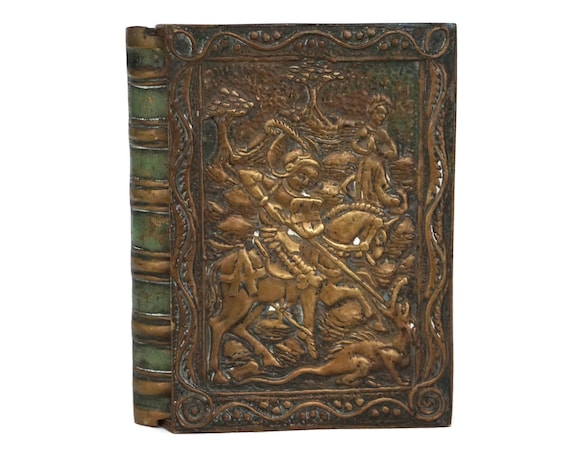 Max Le Verrier Bronze Box With Saint George and Dragon, Mid Century Faux Book Cigarette Holder
