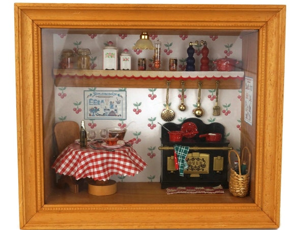 French Dollhouse Miniature Kitchen Diorama, Country Cottage Decor, Wall Hanging Shadow Box
