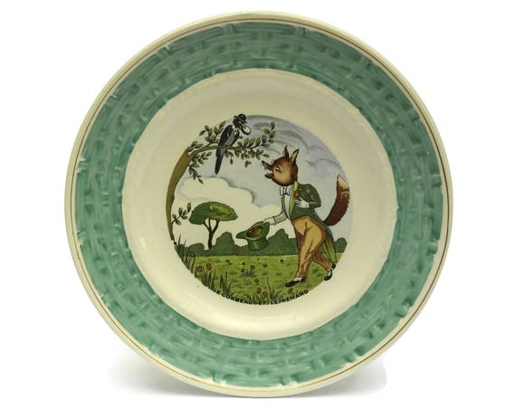 RESERVED for A. The Crow and The Fox La Fontaine Fables Wall Plate. Nursery Decor. Vintage French Faience Plate.