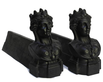 Antique French Queen with Crown  Andirons. Woman Portrait Bust Cast Iron Firedogs. Figural French Chenets for Fireplace Decor.