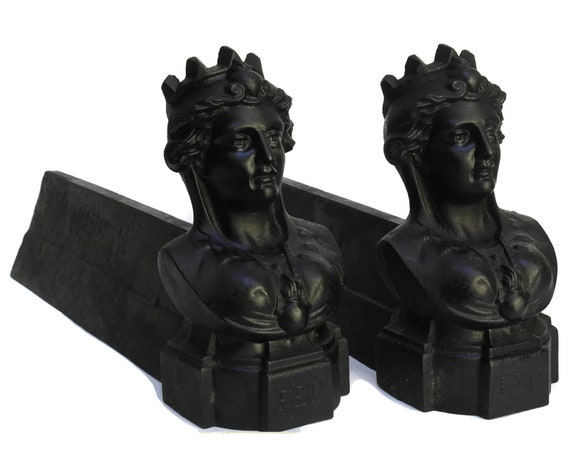 Antique French Queen Bust Andirons, Woman Portrait, Cast Iron Figural Firedogs, Fireplace Decor