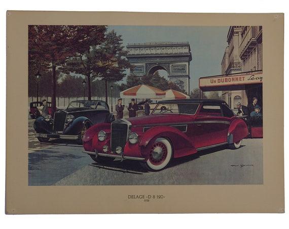 Classic Car Poster Art Print Set, Automobile Collectibles, Prestigieuses Voitures du Passé