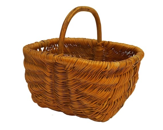 French Vintage Harvest Basket with Wooden Handle, Rustic Country Gardening Gift