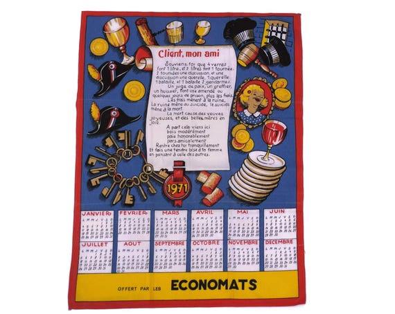 Vintage French Calendar Tea Towel, Printed Advertising Calendar, 1971 Birthday Gift