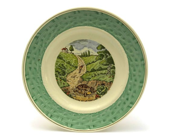 RESERVED for A.  The Hare and the Tortoise La Fontaine Fables Wall Plate. Vintage French Faience Plate. Nursery Decor.