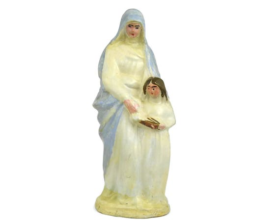 Vintage French Saint Anne and Virgin Mary Statuette. Vintage Saint Ann and Her Child Plaster Statue.