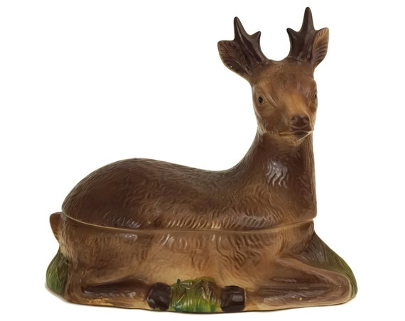 French Pottery Deer Tureen, Rustic Kitchen and Woodland Home Decor