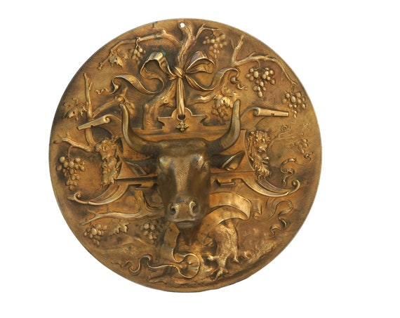 Antique Bronze Medal with Bull Head Figurine and Mythological Bacchus Face Masks, French Livestock Award Trophy