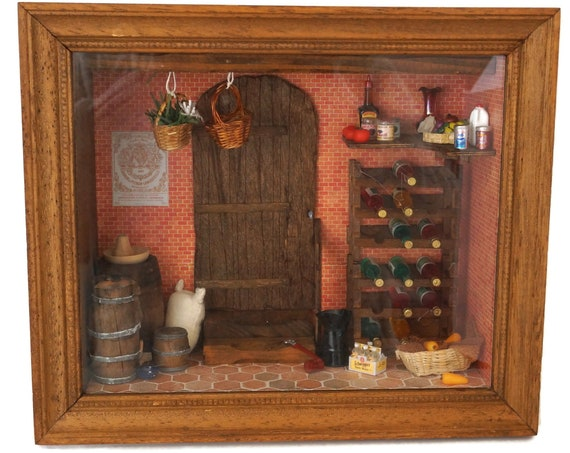 French Dollhouse Miniature Wine Cellar Diorama, Country Cottage Kitchen Decor, Wall Hanging Shadow Box