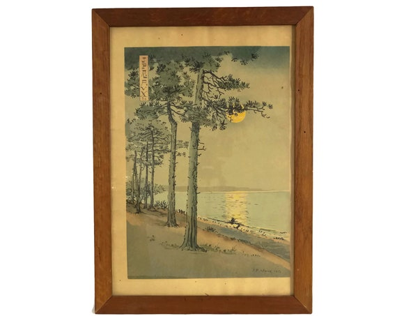 Jean Paul Alaux Art Print of Japanese Style Trees and Moonlight, French Antique Framed Landscape Wall Decor