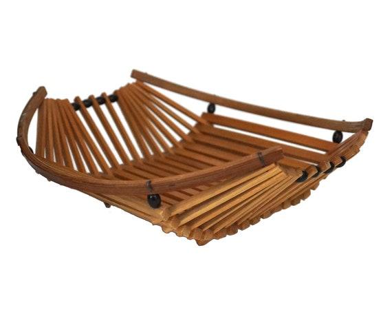 Mid Century Bamboo Fruit Basket, French Vintage MCM Atomic Age Decor