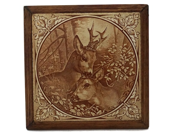 Antique Ceramic Tile Trivet with Woodland Deer, French Transferware Pot Rest in Wooden Stand