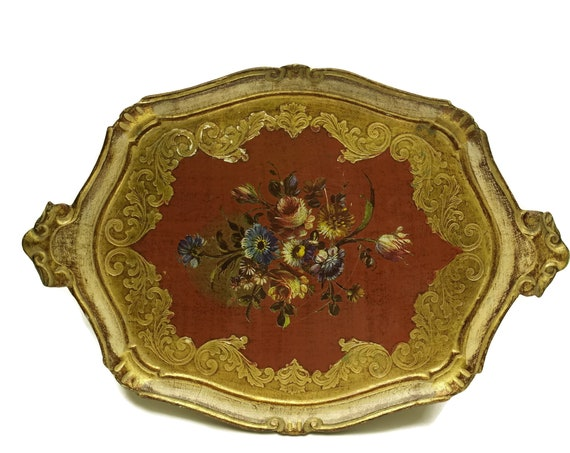 Vintage Florentine Tray with Toleware Flowers. Large Red and Gold Serving Tray. Boho Home Decor.