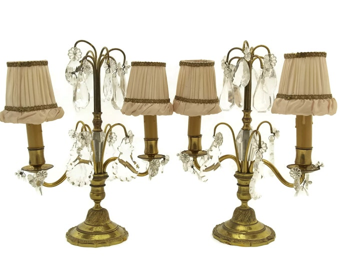 Antique Girandole Candelabra. Pair of French Crystal and Brass Table Lamp Chandeliers with Pink Lamp Shades. Romantic Bedroom & Home Decor.