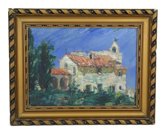 French Country Church Painting in Gold Frame. Church of Saint Jacques in Cavaillon, Provence. Vintage French Provencal Decor.