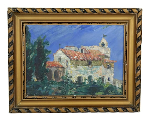 French Country Church Painting in Gold Frame, Vintage Provencal Wall Decor