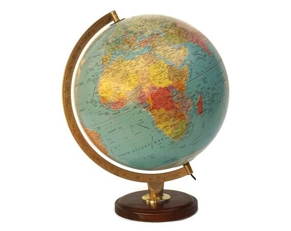 Michelin World Globe Desk Lamp, French Vintage Illuminated Earth Model Map Light, Office Decor