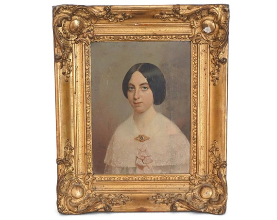 Antique Lady Portrait Painting, 19th Century French Woman Art
