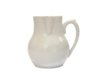 French Stoneware Milk Pitcher, Small Glazed Ceramic Hot Chocolate Jug