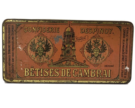 Antique French Candy Tin Box with Advertising for Betises de Cambrai Despinoy, Romantic Pink and Gold Keepsake Box