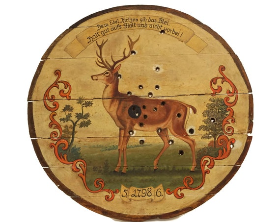 Antique Shooting Target with Stag Painting