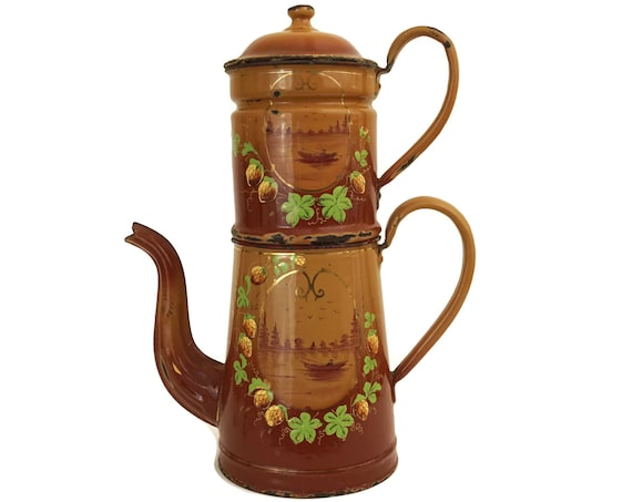 French Enamel Coffee Pot, Antique Kitchen Decor,  Brown Enamelware Biggin