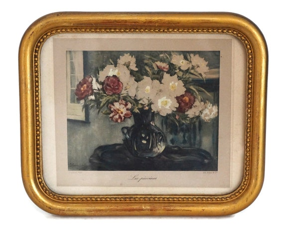 Antique Peony Flower Art Print Engraving in Gold Frame, Romantic French Floral Still Life